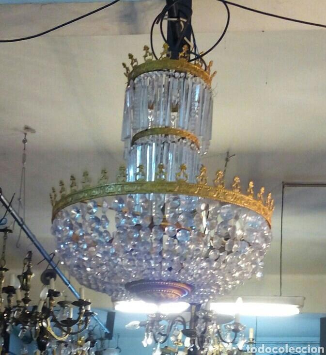 LAMPARA ARAÑA MODERNISTA EN BRONCE Y CRISTAL (Antigüedades - Iluminación - Lámparas Antiguas)