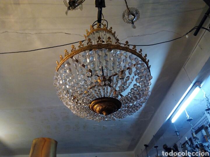 Antigüedades: Lampara araña modernista en bronce y cristal - Foto 2 - 64229542