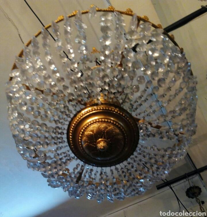 Antigüedades: Lampara araña modernista en bronce y cristal - Foto 3 - 64229542