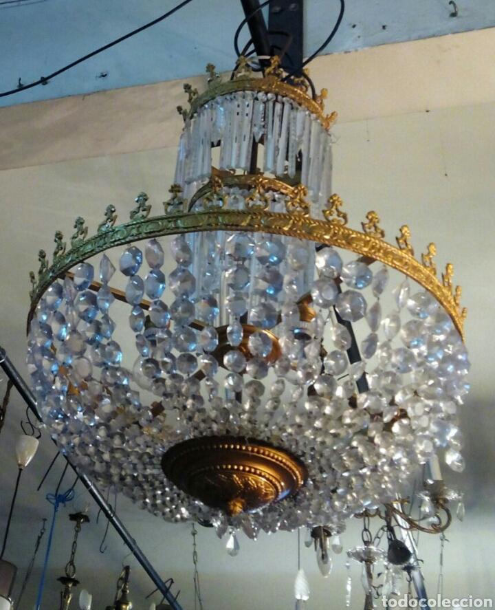 Antigüedades: Lampara araña modernista en bronce y cristal - Foto 4 - 64229542