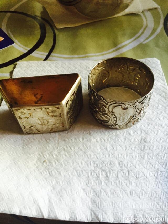 LOTE DE 2 SERVILLETEROS EN PLATA DE LEY (Antigüedades - Platería - Plata de Ley Antigua)