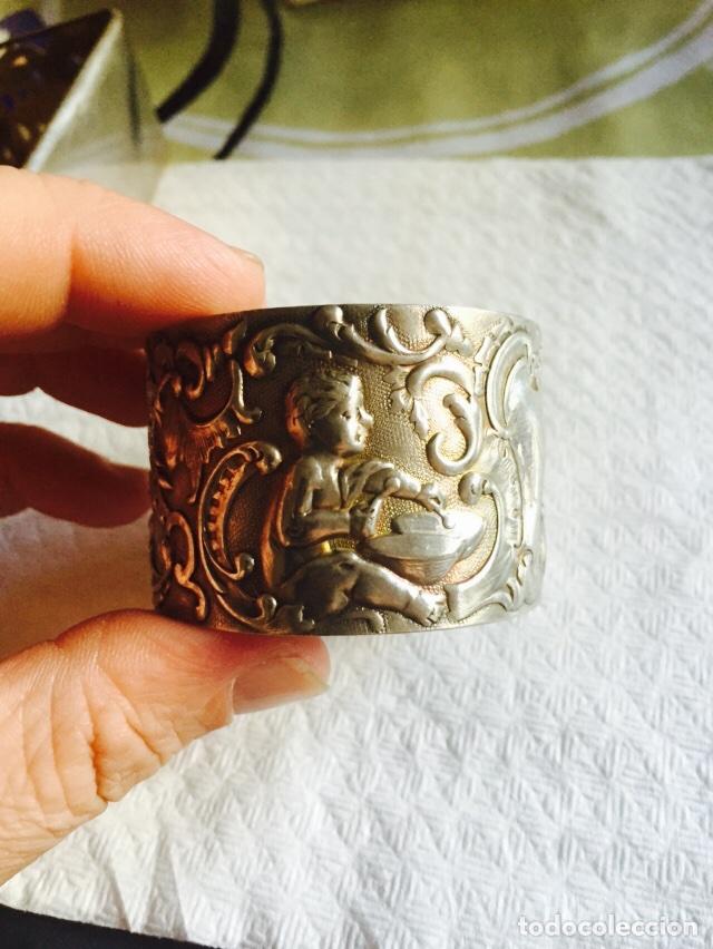 Antigüedades: Lote de 2 servilleteros en plata de ley - Foto 6 - 64287071