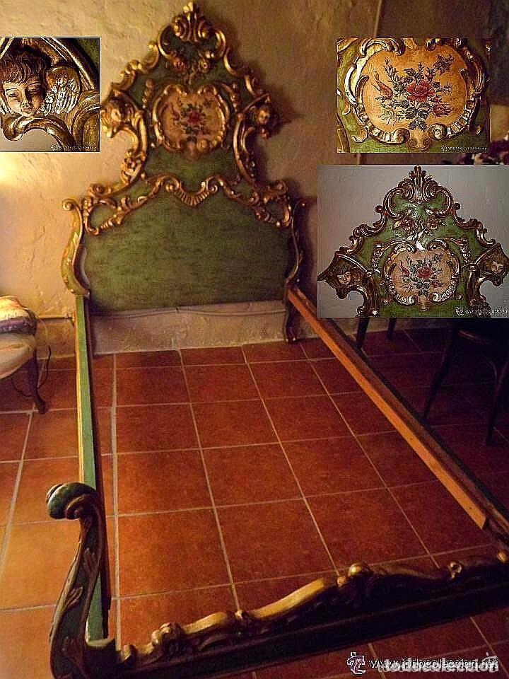 CAMA DE OLOT S XIX ANGELES - ENVIO GRATUITO ARAGÓN, CATALUÑA, VALENCIA (Antigüedades - Muebles Antiguos - Camas Antiguas)