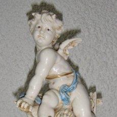 Antigüedades: FIGURA DE PORCELANA DE ALGORA. ÁNGEL. ESTACIÓN DE VERANO. JOYERÍA MEXIA - CÁDIZ.. Lote 64456099
