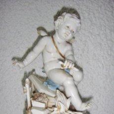 Antigüedades: FIGURA DE PORCELANA DE ALGORA. ÁNGEL. ESTACIÓN DE INVIERNO. JOYERÍA MEXIA - CÁDIZ.. Lote 64456407