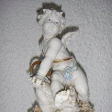 Antigüedades: FIGURA DE PORCELANA DE ALGORA. ÁNGEL. ESTACIÓN DE VERANO. JOYERÍA MEXIA - CÁDIZ.. Lote 64456751
