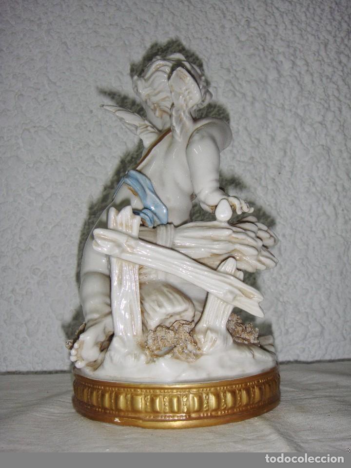 Antigüedades: Figura de Porcelana de ALGORA. Ángel. Estación de Verano. Joyería Mexia - Cádiz. - Foto 3 - 64456751