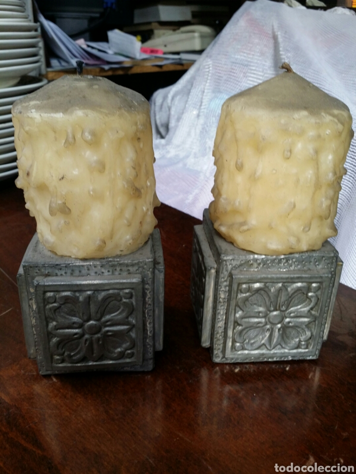 Antigüedades: PRECIOSA PAREJA DE PORTAVELAS ANTIGUOS - Foto 5 - 64467841