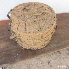 Antigüedades: CAPAZO CON TAPADERA DE PLEITA O ESPARTO. Lote 64485035