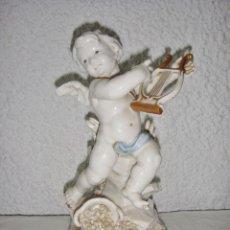 Antigüedades: FIGURA DE PORCELANA DE ALGORA. ÁNGEL. ESTACIÓN DE PRIMAVERA. JOYERÍA MEXIA - CÁDIZ.. Lote 64495683