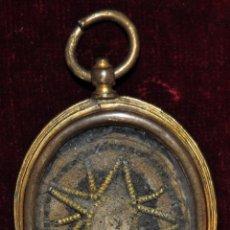 Antigüedades: GRAN RELICARIO EN METAL Y PLATA DORADA DEL SIGLO XVIII. Lote 64570111