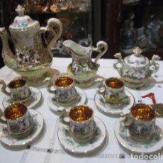 Antigüedades: PRECIOSO JUEGO DE CAFÉ ANTIGUO, EN PORCELANA ITALIANA CAPODIMONTE. BUEN ESTADO.. Lote 64577003