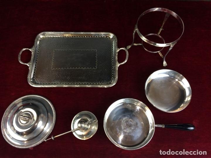 Antigüedades: FONDUE CON BANDEJA. ALPACA CHAPADA EN PLATA. ESPAÑA. CIRCA 1950. - Foto 7 - 111051983