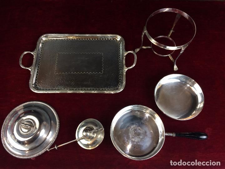 Antigüedades: FONDUE CON BANDEJA. ALPACA CHAPADA EN PLATA. ESPAÑA. CIRCA 1950. - Foto 11 - 111051983