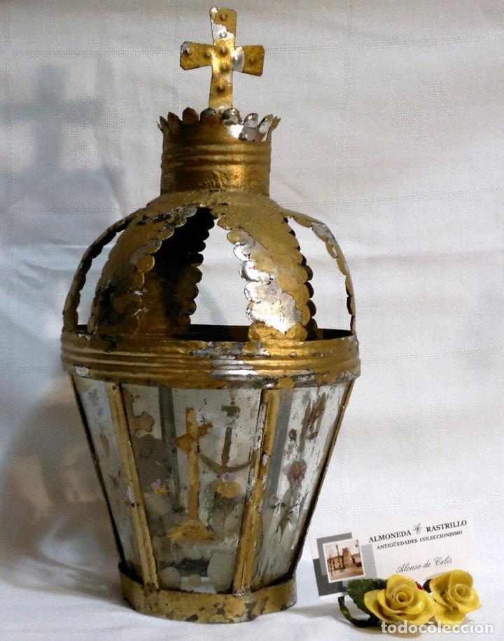 Antigüedades: ANTIGUO FAROL PROCESIONAL, DECORADO A MANO. DE ÉPOCA. - Foto 2 - 64727783
