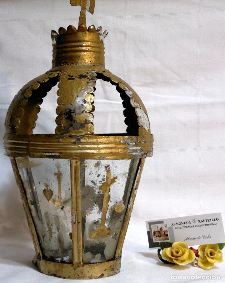 Antigüedades: ANTIGUO FAROL PROCESIONAL, DECORADO A MANO. DE ÉPOCA. - Foto 3 - 64727783
