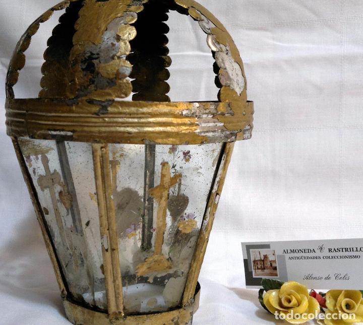 Antigüedades: ANTIGUO FAROL PROCESIONAL, DECORADO A MANO. DE ÉPOCA. - Foto 4 - 64727783