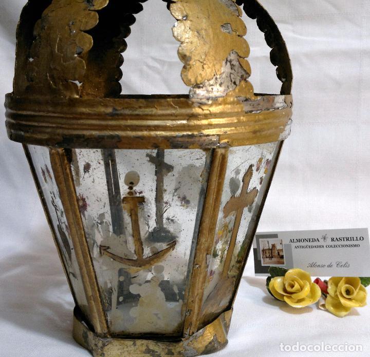 Antigüedades: ANTIGUO FAROL PROCESIONAL, DECORADO A MANO. DE ÉPOCA. - Foto 6 - 64727783
