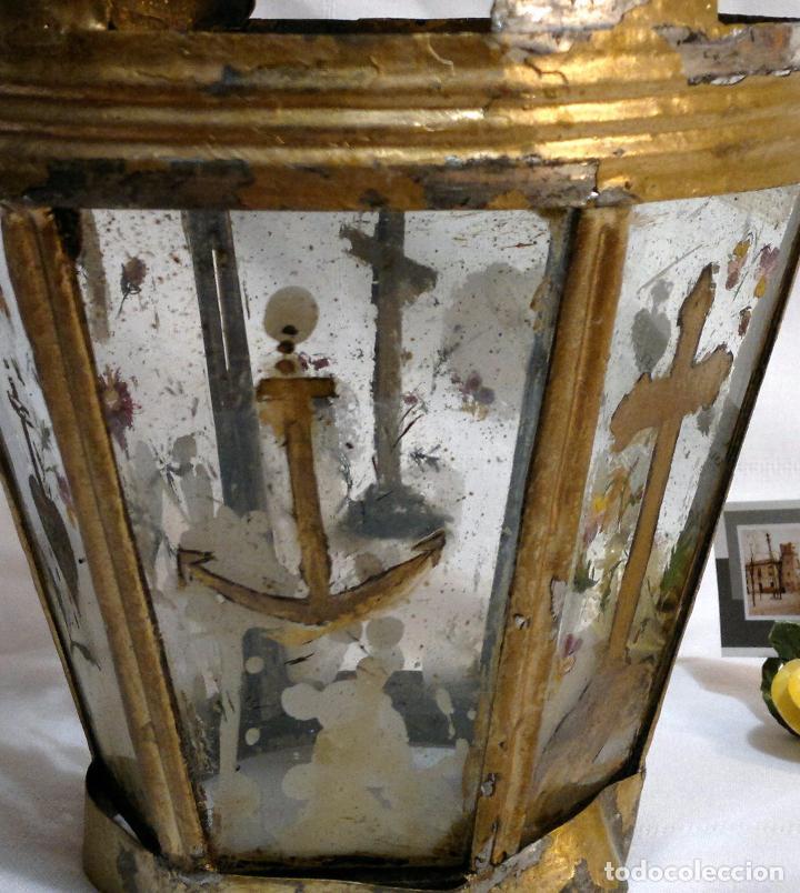 Antigüedades: ANTIGUO FAROL PROCESIONAL, DECORADO A MANO. DE ÉPOCA. - Foto 7 - 64727783