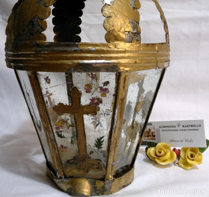 Antigüedades: ANTIGUO FAROL PROCESIONAL, DECORADO A MANO. DE ÉPOCA. - Foto 8 - 64727783