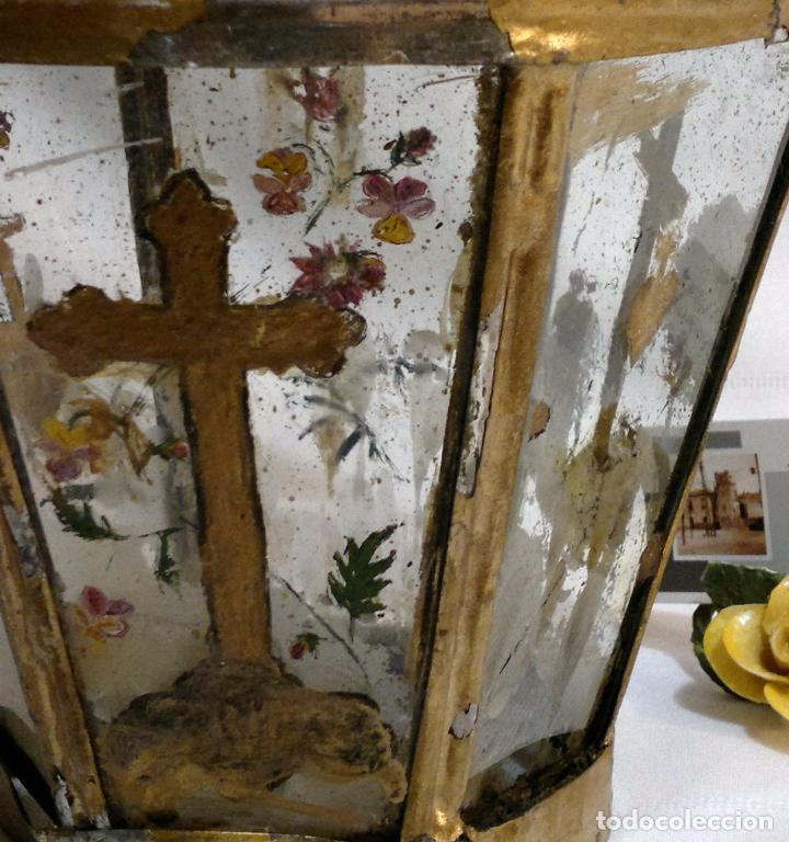 Antigüedades: ANTIGUO FAROL PROCESIONAL, DECORADO A MANO. DE ÉPOCA. - Foto 9 - 64727783