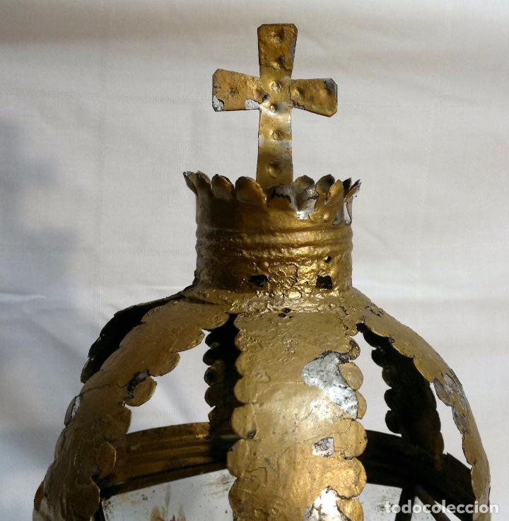 Antigüedades: ANTIGUO FAROL PROCESIONAL, DECORADO A MANO. DE ÉPOCA. - Foto 10 - 64727783