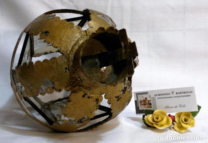 Antigüedades: ANTIGUO FAROL PROCESIONAL, DECORADO A MANO. DE ÉPOCA. - Foto 11 - 64727783