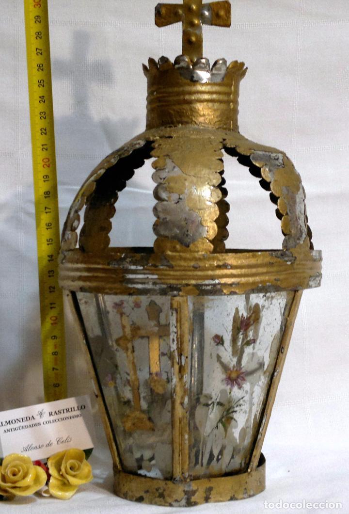 Antigüedades: ANTIGUO FAROL PROCESIONAL, DECORADO A MANO. DE ÉPOCA. - Foto 13 - 64727783