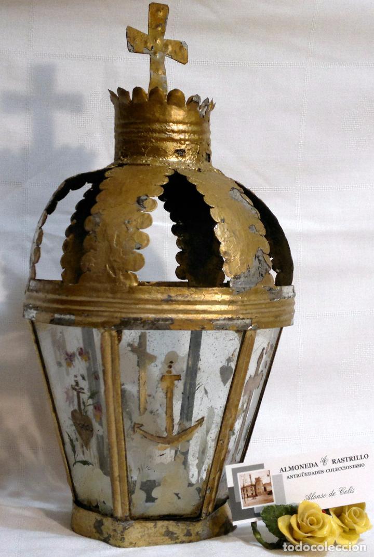 Antigüedades: ANTIGUO FAROL PROCESIONAL, DECORADO A MANO. DE ÉPOCA. - Foto 15 - 64727783