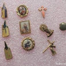 Antigüedades: LOTE PINS RELIGIOSO CAMINO SANTIAGO SEMANA SANTA COFRADE SAGRADO CORAZÓN VIRGEN PILAR NAZARENO CRUZ. Lote 64778431