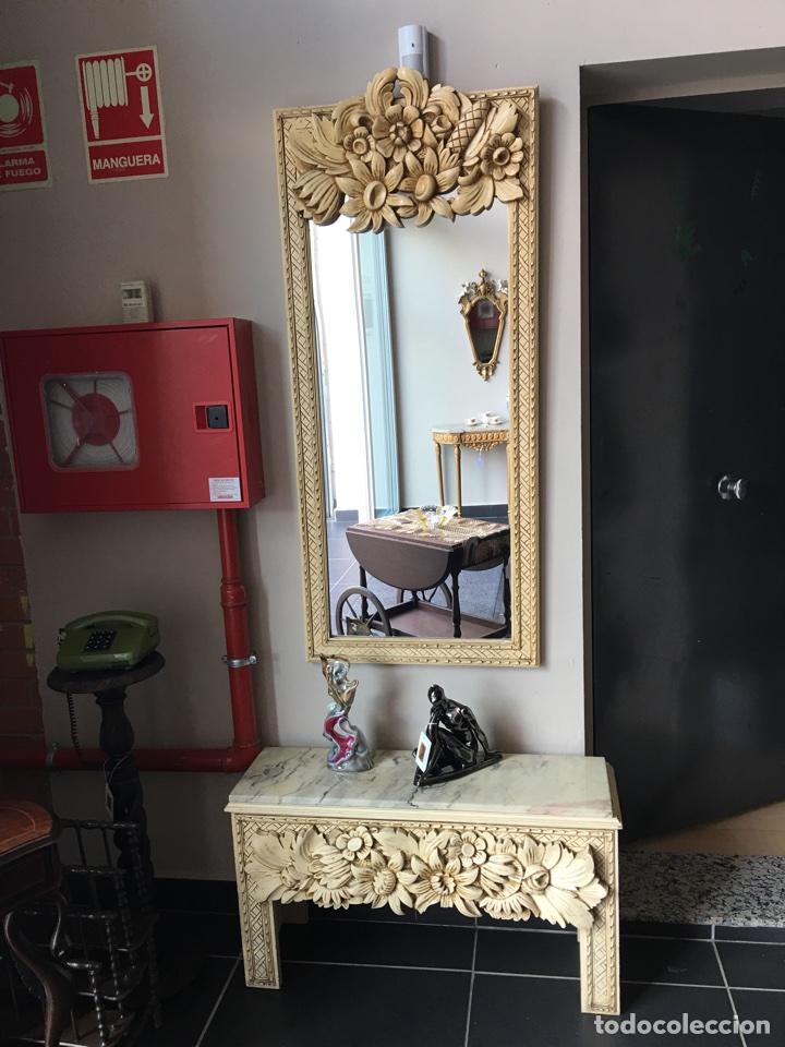 consola recibidor con espejo de madera tallada - Comprar Espejos ...