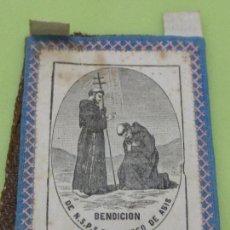 Antigüedades: ANTIGUO ESCAPULARIO SAN FRANCISCO DE ASÍS-REVERSO CON ORACIÓN-TELA IMPRESA GRANDE-ORIGINAL PP. S. XX. Lote 64821155