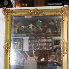 Antigüedades: ESPEJO EN MADERA DORADA. Lote 64867347