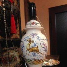 Antigüedades: ANTIGUA LAMPARA DE CERAMICA TRIANA SELLADA.. Lote 64876079
