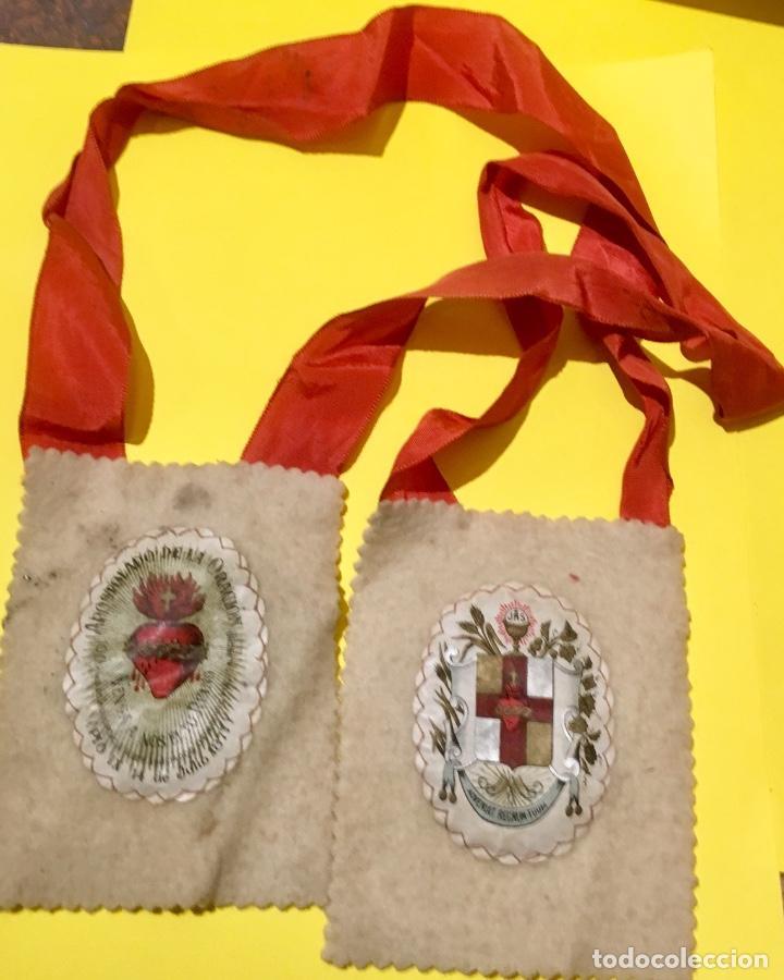 ESCAPULARIO APOSTOLADO DE LA ORACIÓN PIO IX 1877 14 JULIO JHS PAPEL ALGODON 11X9CMS SXIX (Antigüedades - Religiosas - Escapularios Antiguos)