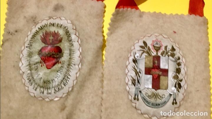 Antigüedades: escapulario apostolado de la oración pio IX 1877 14 JULIO JHS papel algodon 11x9cms sXIX - Foto 4 - 64981947
