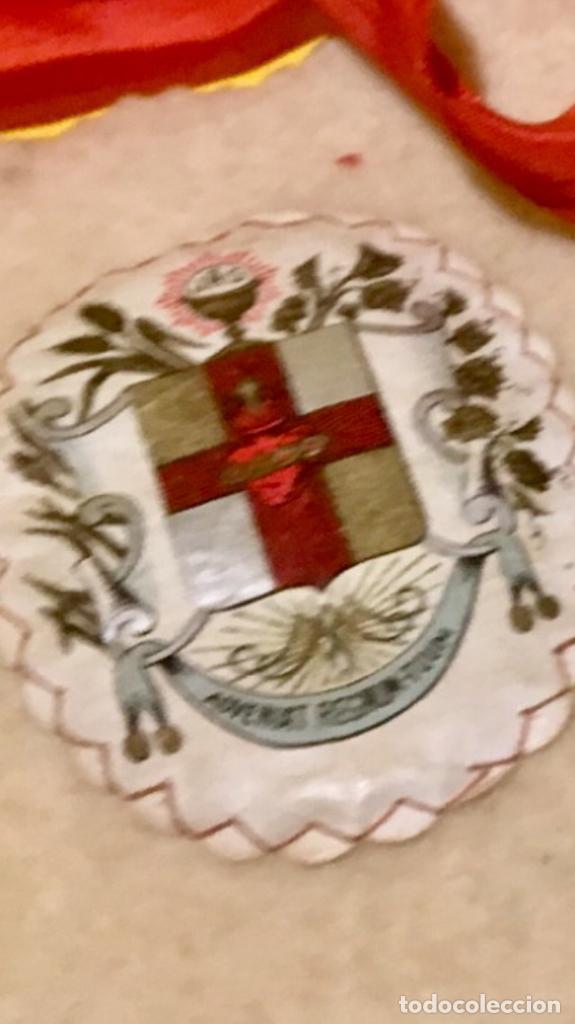 Antigüedades: escapulario apostolado de la oración pio IX 1877 14 JULIO JHS papel algodon 11x9cms sXIX - Foto 7 - 64981947