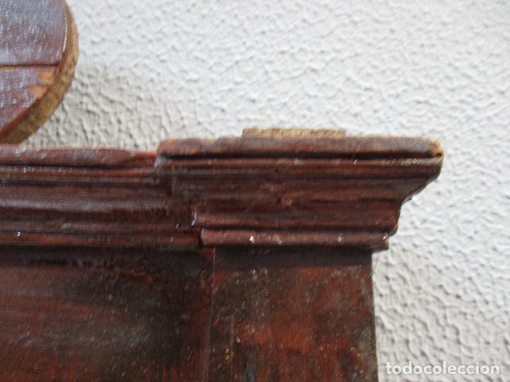 Antigüedades: Antiguo Copete - Remate de Cama - Plafón - Carlos IV - Madera Policromada - Finales S. XVIII - Foto 15 - 65267487