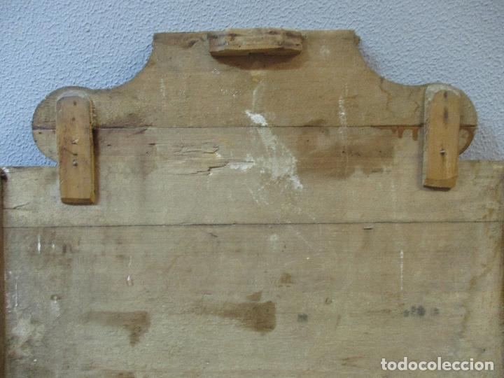 Antigüedades: Antiguo Copete - Remate de Cama - Plafón - Carlos IV - Madera Policromada - Finales S. XVIII - Foto 18 - 65267487