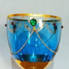 3 copas de coleccionismo en cristal soplado pintadas en oro y decoradas muy exquisitamente.