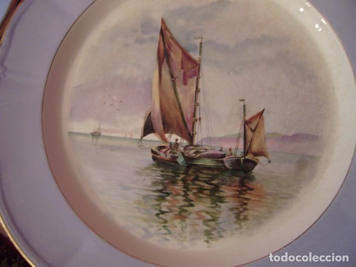 Antigüedades: Pareja grandes platos San Claudio.Oviedo.Pintados a mano. - Foto 2 - 65622998