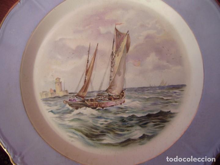 Antigüedades: Pareja grandes platos San Claudio.Oviedo.Pintados a mano. - Foto 3 - 65622998