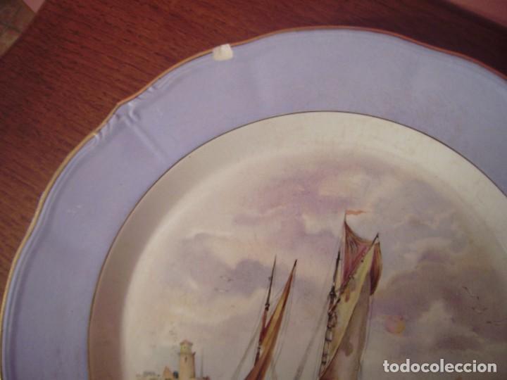 Antigüedades: Pareja grandes platos San Claudio.Oviedo.Pintados a mano. - Foto 4 - 65622998