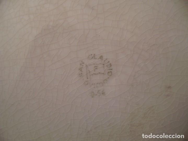 Antigüedades: Pareja grandes platos San Claudio.Oviedo.Pintados a mano. - Foto 5 - 65622998