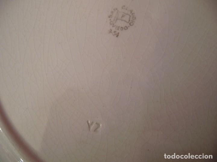 Antigüedades: Pareja grandes platos San Claudio.Oviedo.Pintados a mano. - Foto 6 - 65622998