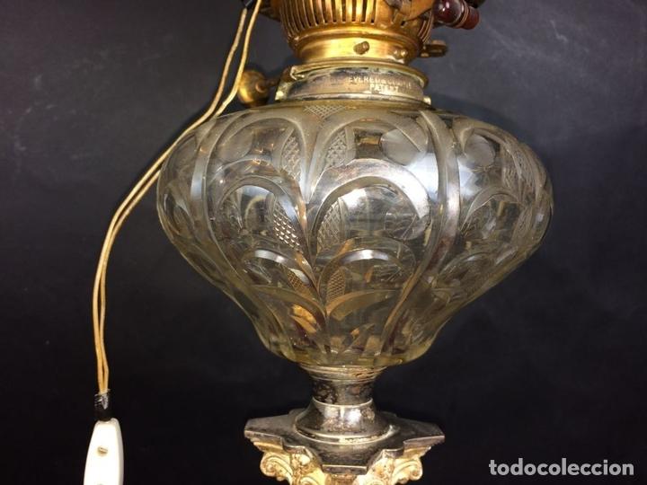 Antigüedades: QUINQUÉ. COLUMNA CLÁSICA. CRISTAL Y METAL PLATEADO. EVERED CO. INGLATERRA. 1850 - Foto 4 - 65659074