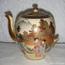 Antigüedades: ANTIGUA TETERA JAPONESA. PINTADA A MANO. CON SELLO EN LA BASE.. Lote 65680098