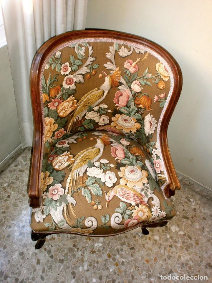 SILLONES DE NOGAL Y CAOBA DE 1940 LUIS XV (Antigüedades - Muebles Antiguos - Sillones Antiguos)