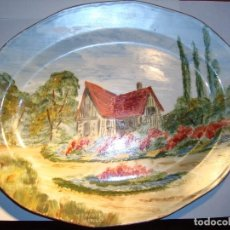 Antigüedades: PRECIOSA BANDEJA DE PORCELANA PINTADA POR HENRY LIMOGES. Lote 65757446