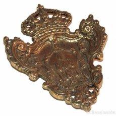 Antigüedades: ESCUDO DE ARMAS EN BRONCE. Lote 65757602